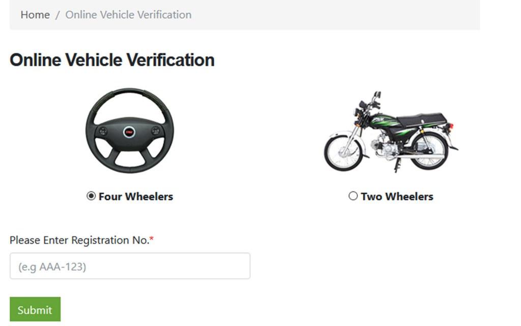 Online Vehicle Verification in Sindh