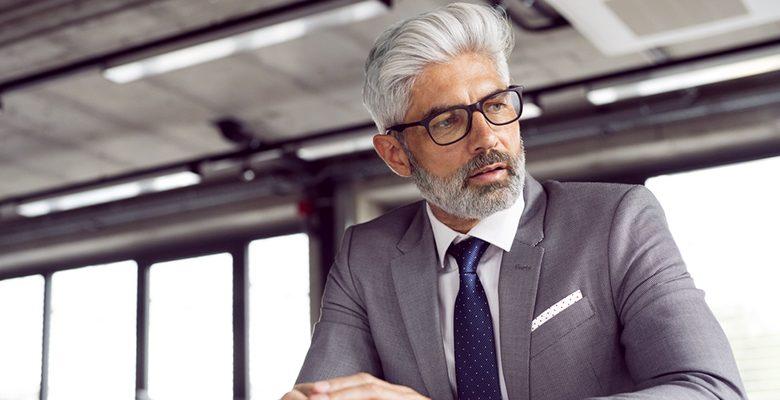 Grey hair and Beard